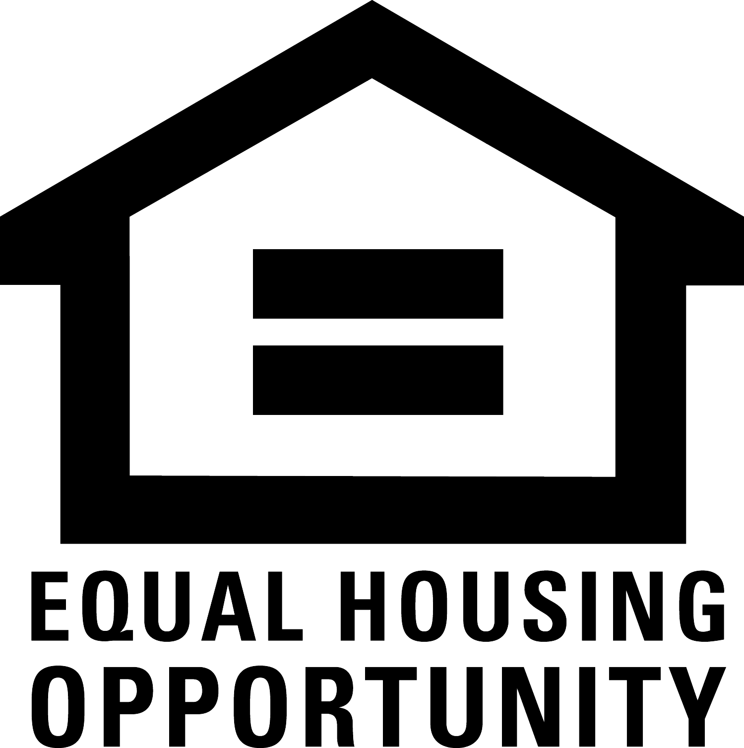 black house icon with equal sign within and equal housing opportunity text underneath