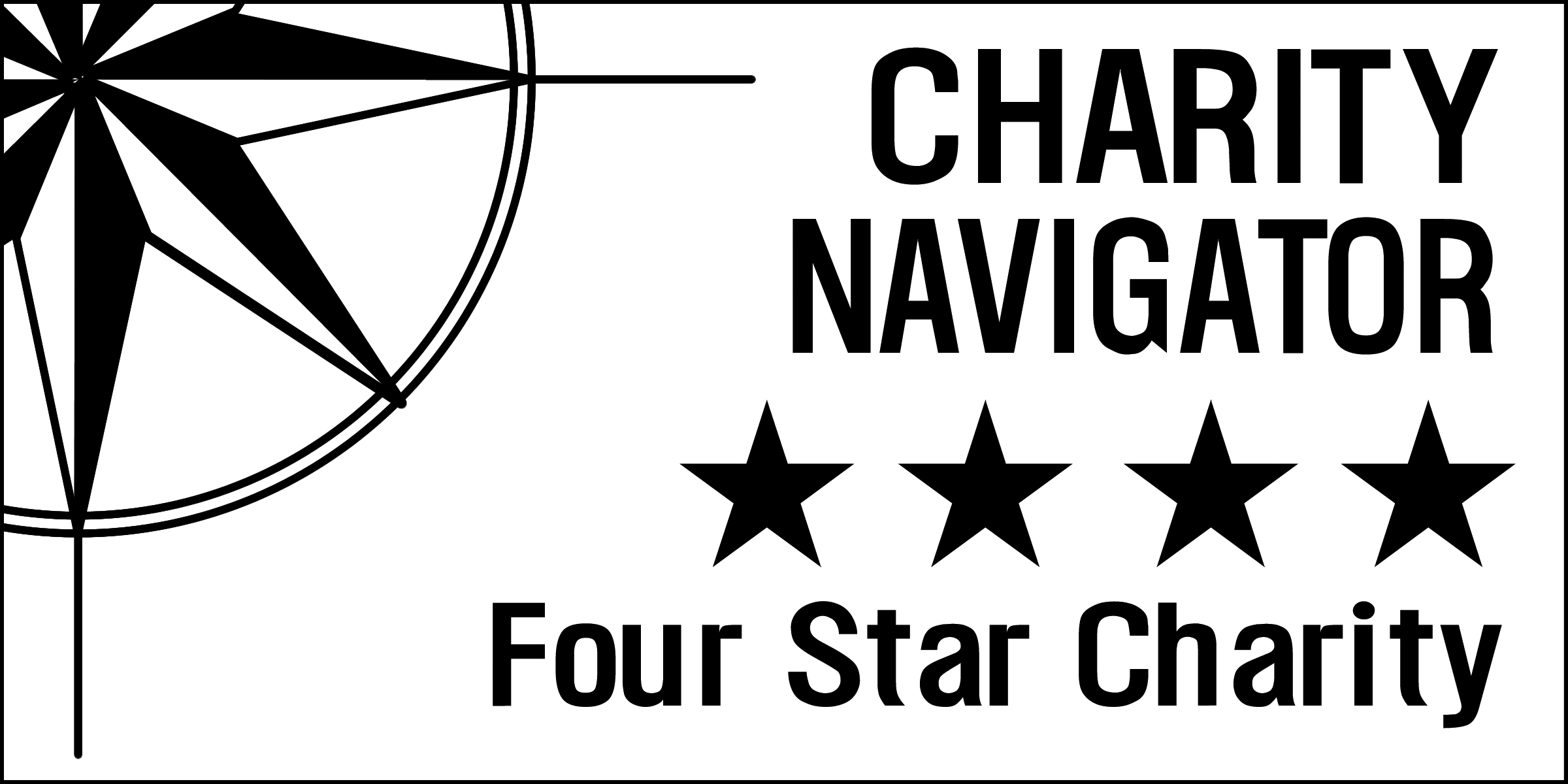 Bottom right corner of starburst icon with Charity Navigator Four Star Charity logo