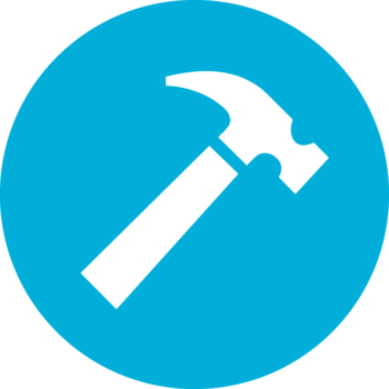 Blue construction hat icon