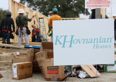 K. Hovnanian Homes sign in front of in-progress home