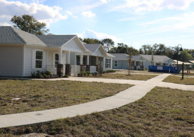 Row of four completed houses