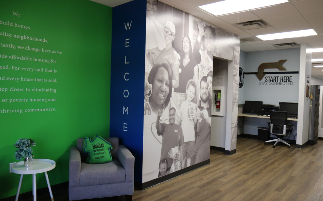 A photo of Habitat for Humanity Greater Orlando & Osceola County's lobby in the main office.