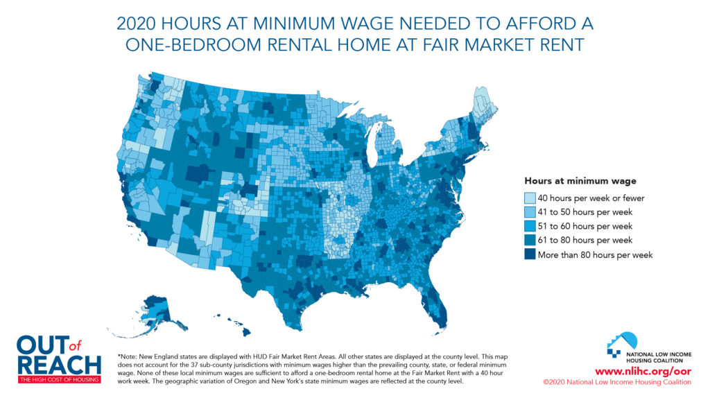 A map of the U.S. showing the number of hours at minimum wage a worker would need to work to afford a one-bedroom home in different areas of the U.S.