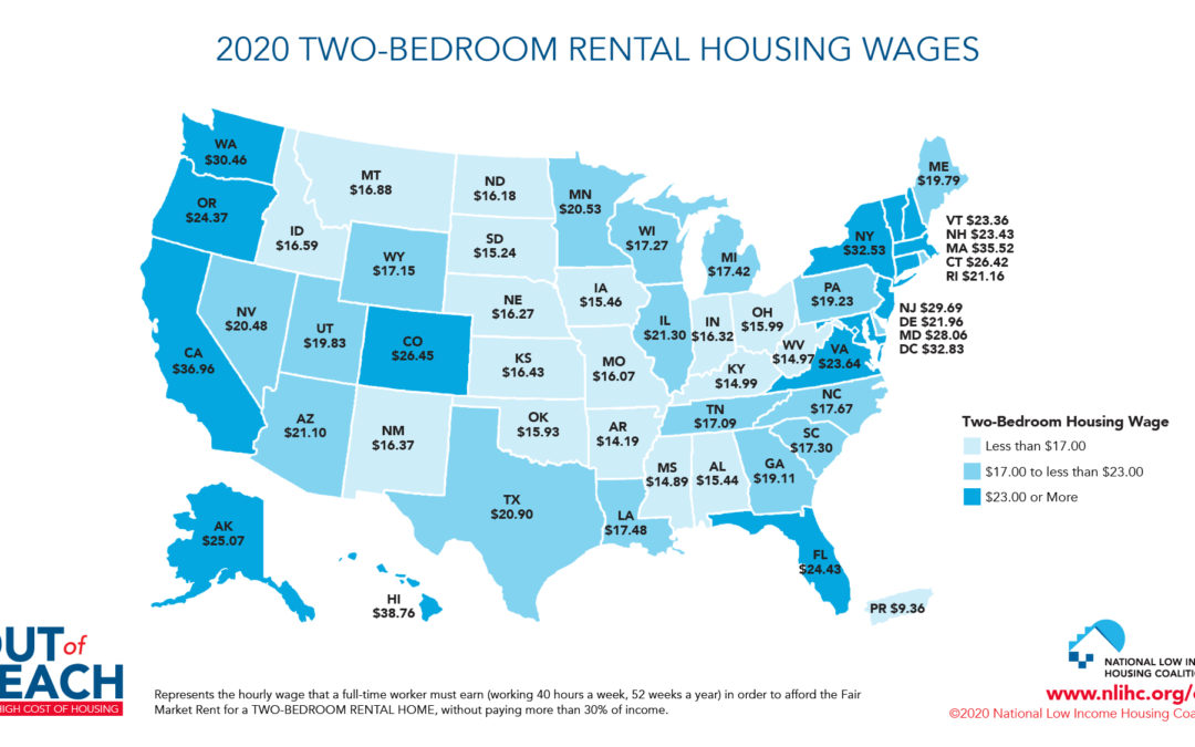 A map of the U.S. showing the hourly wage needed to afford a two-bedroom rental home in each U.S. state.