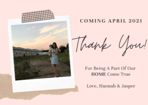 "Hannah's announcement card to her friends says ""coming April 2021 - Thank you!"""