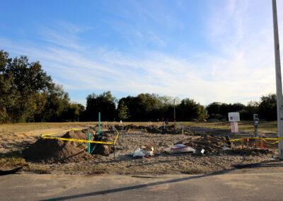 A dirt construction site.